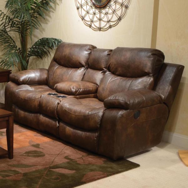 Catalina Reclining Console Loveseat In Timber With Storage